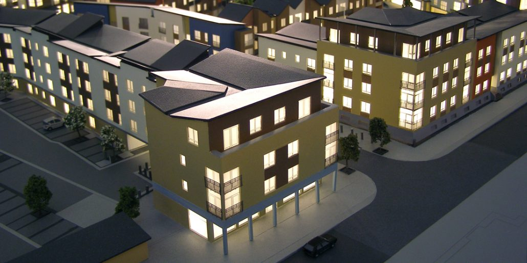 200th Scale Colne View Residential Development Model Illuminated